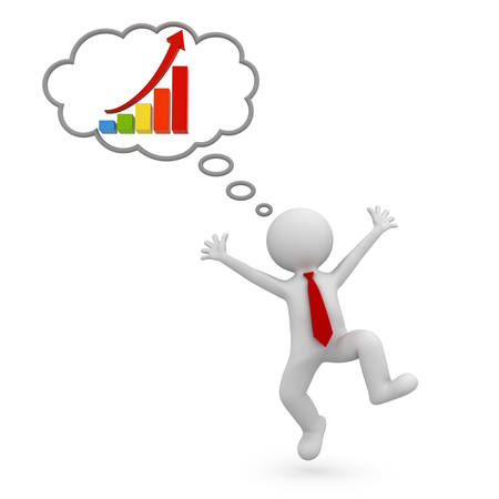 Very happy 3d man celebrating with growth graph chart in thought bubble above his head over white background 3D rendering