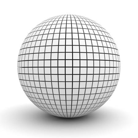 White polygonal sphere isolated over white background with shadow 3D rendering Stock Photo