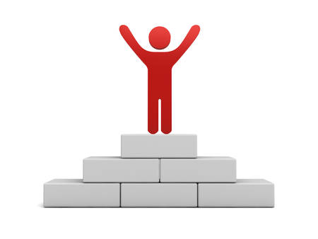 arms wide open: Red man standing with arms wide open on the top of winning podium
