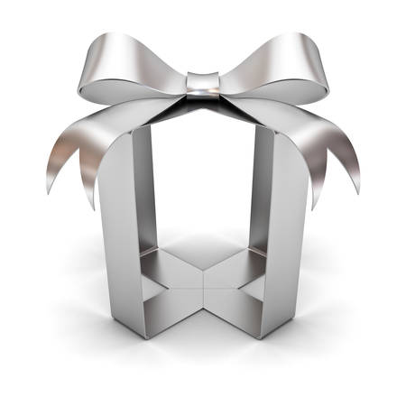 Silver gift box ribbon bow without box abstract concept isolated on white background with shadow 3D rendering Stock Photo