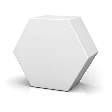 Blank hexagon box isolated on white background with reflection and shadow 3D rendering