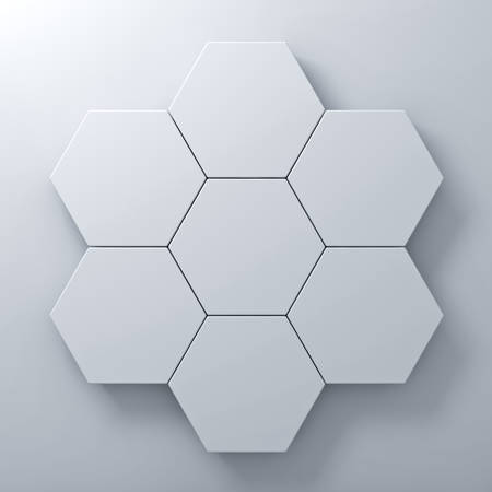 hexagon: Blank hexagon signboards on white wall background abstract concept with shadow 3D rendering