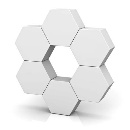 Blank hexagon signboard boxes on white background abstract concept with shadow 3D rendering