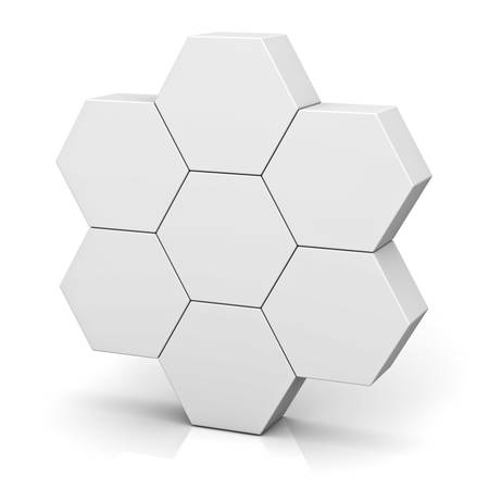 Blank hexagon signboard boxes on white background abstract concept with shadow 3D rendering Stock Photo - 64628079