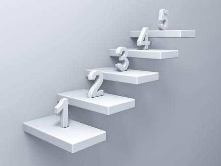 Abstracte trappen of stappen concept op een witte muur achtergrond met nummer 1-5 3D-rendering