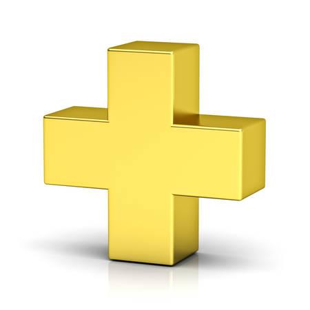 Gold plus signe isolé sur fond blanc avec un rendu de réflexion 3D