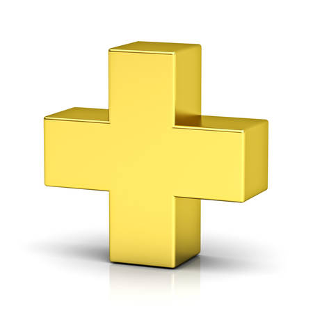 Gold plus teken geïsoleerd op een witte achtergrond met reflectie 3D-rendering