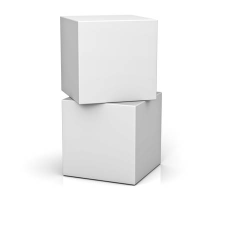 Blank boxes isolated on white background with reflection and shadow 3D rendering