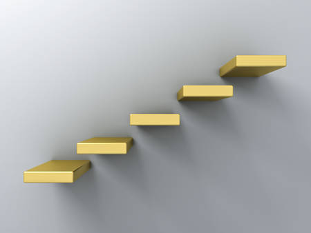 Abstract gold stairs or steps concept on white wall background with shadow 3D rendering