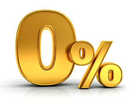 Gouden nul procent of 0% geïsoleerd over witte achtergrond met reflectie 3D-weergave Stockfoto - 64628122