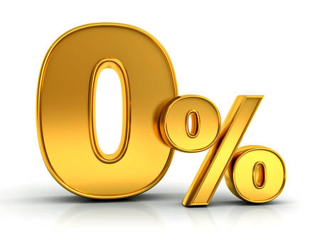 Gold zero percent or 0 % isolated over white background with reflection 3D rendering