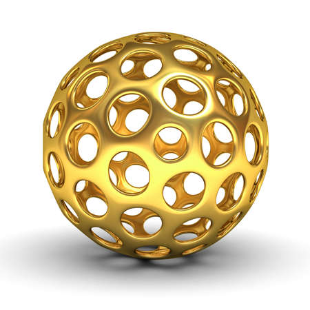 Hollow gold sphere isolated over white background with shadow 3D rendering
