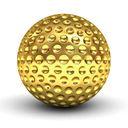 Gold golf ball isolated over white background with reflection and shadow 3D rendering Stock Photo