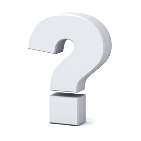 platinum: White question mark isolated over white background with shadow 3D rendering