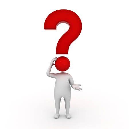 3d man thinking with red question mark over his head isolated on white background 3D rendering