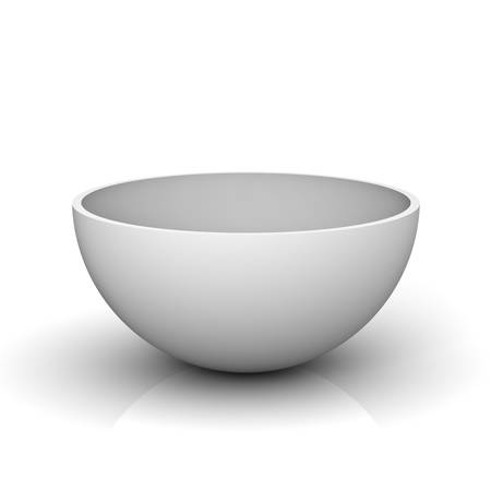 empty the bowl: Empty half of a hollow sphere or white bowl isolated on white background with reflection 3D rendering