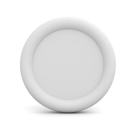 plain button: Blank white button or badge isolated on white background with reflection 3D rendering