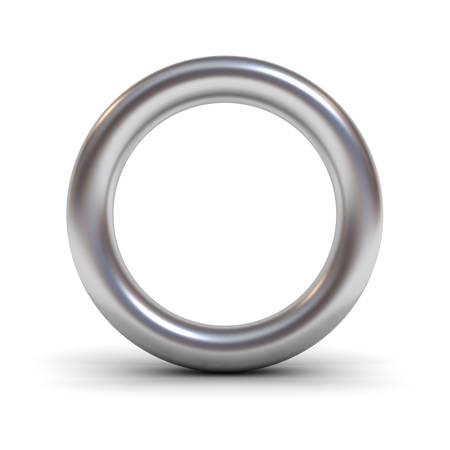 Metaal alfabet brief O of zilveren ring geïsoleerd op witte achtergrond met reflectie en schaduw 3D-weergave Stockfoto