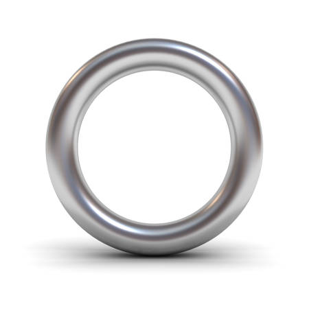 silver reflection: Metal alphabet letter O or silver ring isolated on white background with reflection and shadow 3D rendering Stock Photo