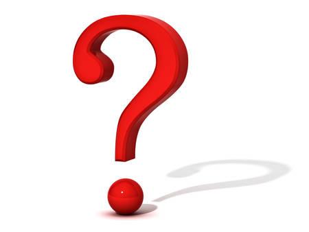 反射とシャドウの 3 D レンダリングで白い背景に分離された赤い疑問符