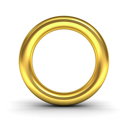 chrome: Gold alphabet letter O or golden ring isolated over white background with reflection and shadow 3D rendering