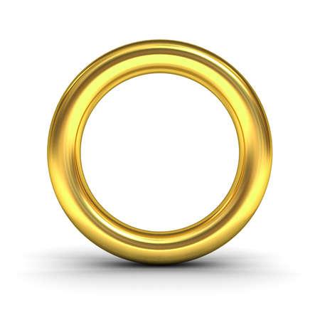 cromo: Oro letra del alfabeto O o anillo de oro aisladas sobre fondo blanco con la reflexión y la sombra de representación 3D