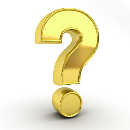 questionmark: Gold question mark isolated over white background with reflection and shadow 3D rendering