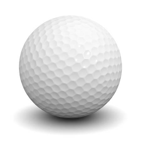 Golfbal die over witte achtergrond met schaduw 3D-rendering
