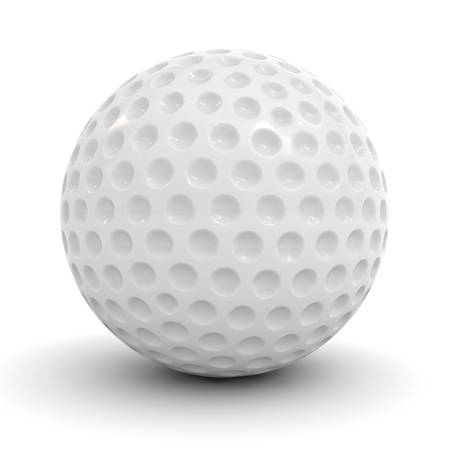 dimple: Golf ball isolated over white background with reflection and shadow 3D rendering Stock Photo