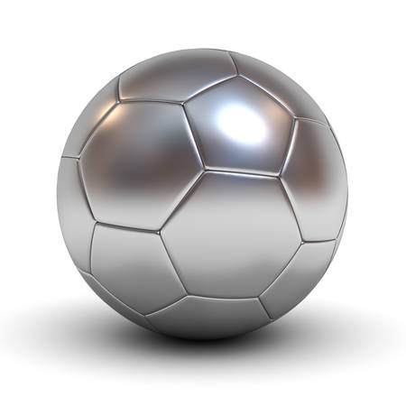 silver grass: Metallic chrome soccer ball isolated over white background with reflection and shadow 3D rendering Stock Photo