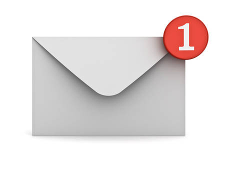 website buttons: E mail notification one new email message in the inbox concept isolated over white background with reflection 3D rendering