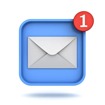 website buttons: E mail notification one new email message in the inbox button concept isolated over white background with shadow 3D rendering Stock Photo