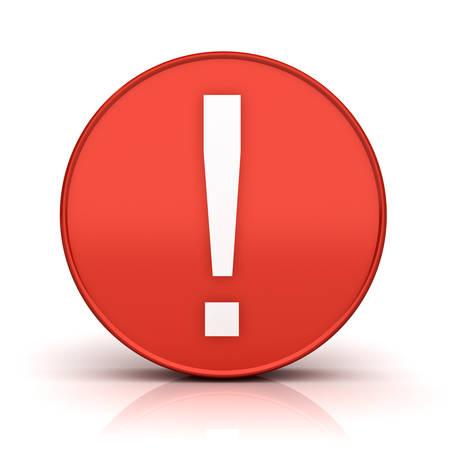 think safety: Exclamation mark in red circle sign isolated over white background with reflection and shadow 3D rendering