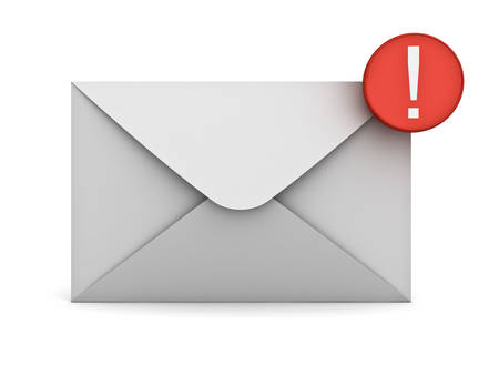 notification: E mail notification new email message in the inbox concept isolated over white background with shadow 3D rendering
