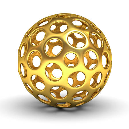 hollow: Hollow gold sphere isolated over white background with shadow 3D rendering