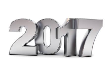 acero: Feliz Año Nuevo 2017 de texto de metal 3D aisladas sobre fondo blanco con la reflexión y la sombra de representación 3D