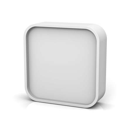 square: Blank square frame or white web button isolated over white background with reflection and shadow 3D rendering