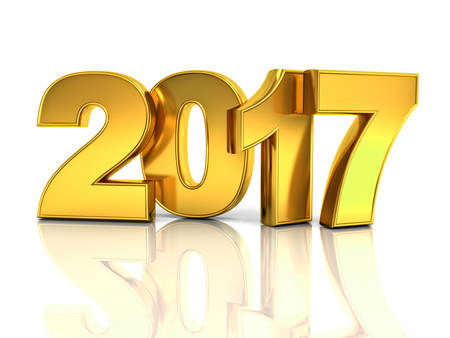 Happy new year 2017 3D gold text concept isolated over white background with reflection and shadow 3D rendering