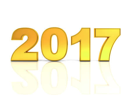 newyear: Happy new year 2017 3D gold text concept isolated over white background with reflection and shadow 3D rendering