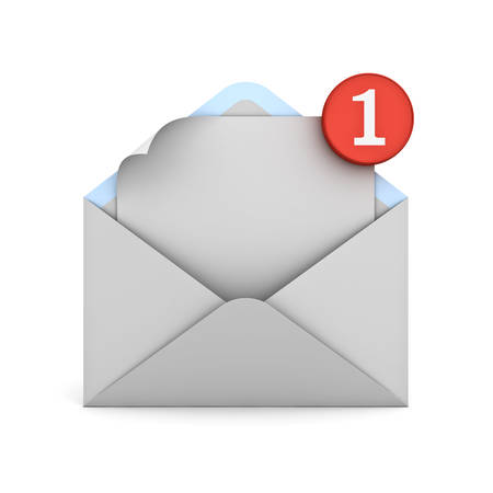 unread: E mail notification one new email message in the inbox concept isolated over white background with reflection and shadow 3D rendering