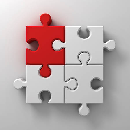 missing link: Red jigsaw puzzle piece stand out from the crowd different concept on white wall background with shadow 3D rendering