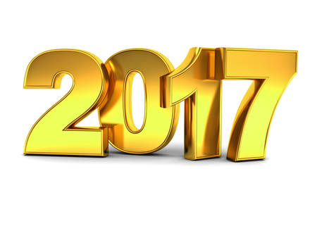 event planning: Happy new year 2017 3D gold text concept isolated over white background with reflection and shadow 3D rendering