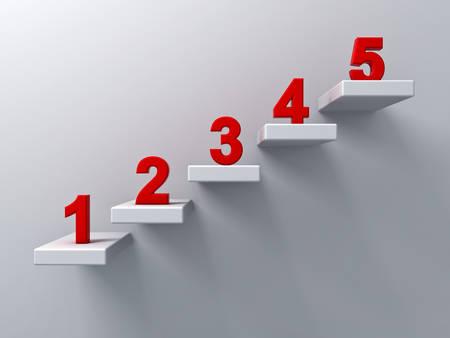 Abstracte trappen of stappen concept op een witte muur achtergrond met rode nummer van één tot vijf 3D-rendering