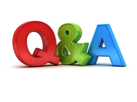 Questions and answers concept Q and A text isolated over white background with shadow 3D rendering