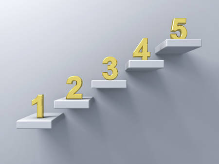 Abstract stairs or steps concept on white wall background with gold number from one to five 3D rendering