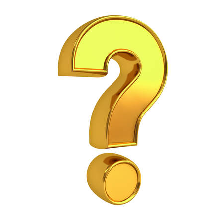 questionmark: Gold question mark isolated over white background with reflection 3D rendering