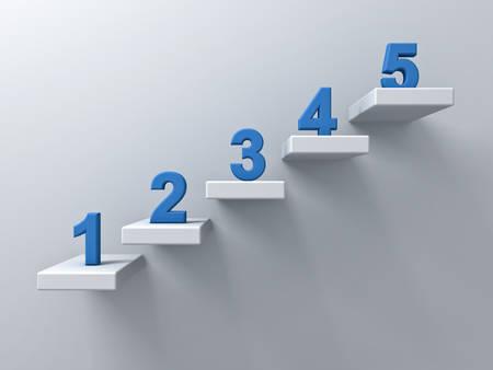 Abstracte trappen of stappen concept op een witte muur achtergrond met blauwe nummer van één tot vijf 3D-rendering