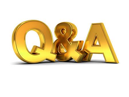 preguntando: Preguntas y respuestas concepto de oro Q y A de texto aislados sobre fondo blanco con la sombra de representación 3D