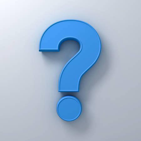 Blue question mark on white background abstract with shadow 3D rendering