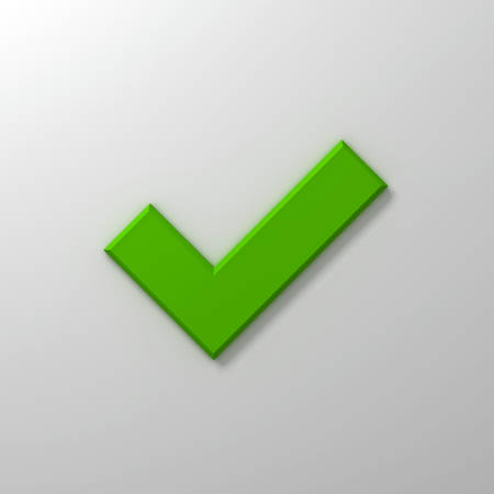 confirm: Green check mark or tick abstract on white wall background with shadow 3D rendering Stock Photo